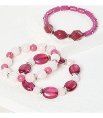 lane bryant women's 3-row beaded stretch bracelet set - purple onesz spanish sangria