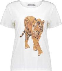 t-shirt tiger gebroken wit