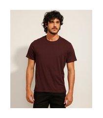 camiseta masculina básica manga curta gola careca vinho