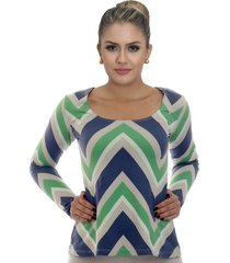 blusa ficalinda manga longa estampa exclusiva zig zag azul e verde decote redondo evasê