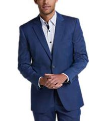perry ellis premium blue tic slim fit tech suit