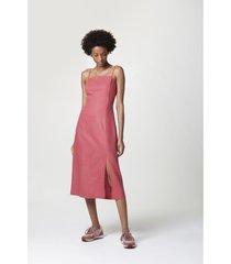 vestido hering largo rosa - calce regular