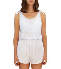 women's becca breezy tie shoulder romper, size medium - white