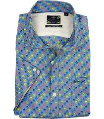 katoen blauw dessin overhemd new zealand