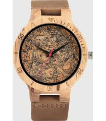 reloj madera grabado corcho marrón millam