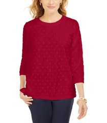 karen scott petite textured dot sweatshirt, created for macy's