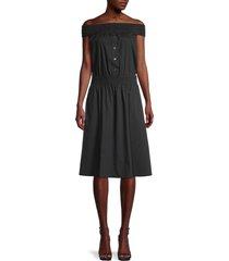 donna karan new york women's smocked off-the-shoulder dress - black - size xs