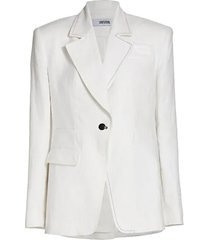 single-breasted relaxed linen suit jacket