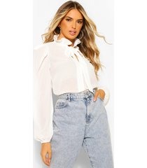 chiffon blouse met schouderpads en strik, wit