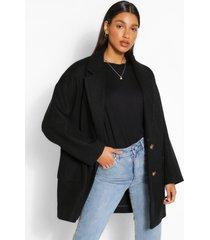 oversized nepwollen jas met dubbele knopen, zwart