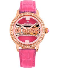 empress rania mechanical pink leather watch 38mm