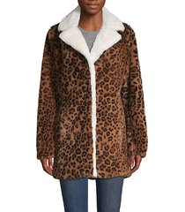 leopard-print faux-fur jacket