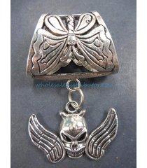 us seller-skull angel wing slider pendant diy necklace and scarf