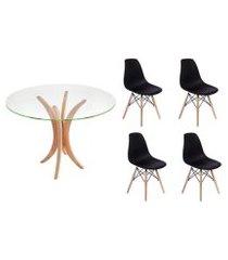kit mesa de jantar 90cm tampo de vidro + 04 cadeiras charles eames - preta