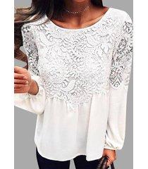 detalles de encaje blanco cuello redondo manga larga blusa de gasa