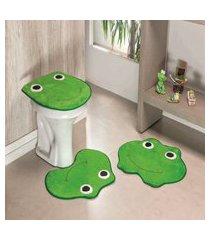 kit tapete de banheiro 3 peças antiderrapante sapo pistache