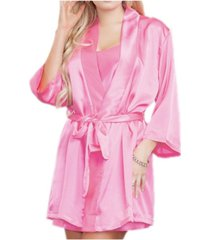 icollection women's lila satin wrap robe, online only