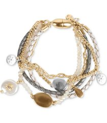 lucky brand two-tone crystal & imitation pearl charm leather & beaded multi-row magnetic bracelet