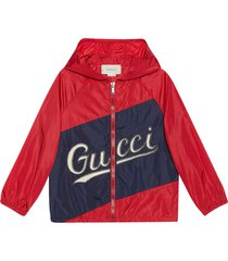 gucci red and blue jacket with hood