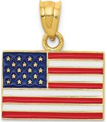 usa flag charm pendant in 14k yellow gold & enamel