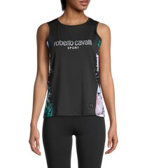 roberto cavalli sport women's graphic tank top - size m
