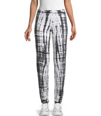 hard tail women's printed cotton-blend pants - black white - size s