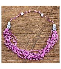 recycled glass and plastic beaded torsade necklace, 'pink yram' (ghana)