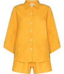 deiji studios button-up two-piece pajama set - yellow