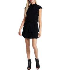 women's 1.state flutter sleeve drop waist knit dress, size x-small - black