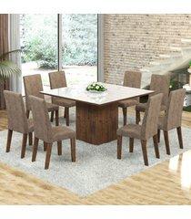 mesa de jantar 8 lugares dara venus dover/malta/branco - viero móveis