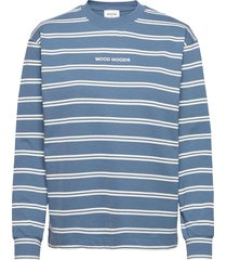 astrid stripe long sleeve tee t-shirts & tops long-sleeved blauw wood wood