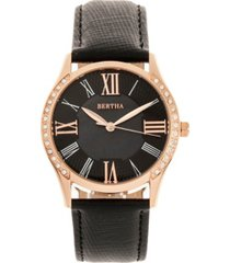 bertha quartz sadie black genuine leather watch, 36mm
