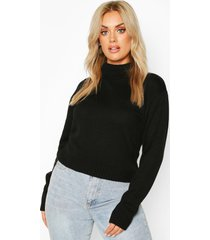 plus crop top met col, zwart