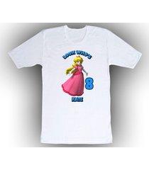 super mario princess peach personalized white birthday shirt