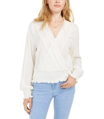 american rag juniors' lace-trim smocked surplice top, created for macy's