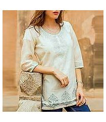 cotton and silk blend tunic, 'ivory delight' (india)
