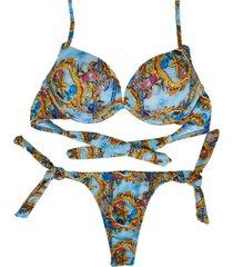 biquíni 3d divance estampa estrela-do-mar azul - calcinha de amarração lateral