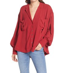 free people erin's jacquard oversize button front top, size large in stolen kiss at nordstrom