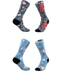 men's and women's holly berries and stockings socks, set of 2