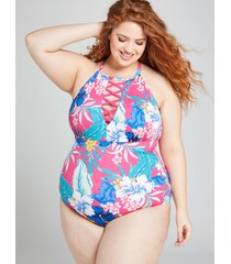 lane bryant women's floral strappy high-neck no-wire swim one piece 22 hibiscus tropics