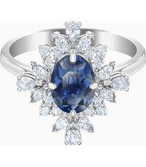 anello con motivo palace, azzurro, placcatura rodio