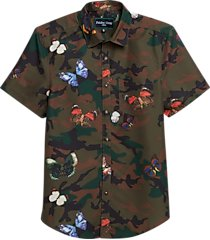 paisley & gray slim fit short sleeve swim shirt olive camo and butterflies