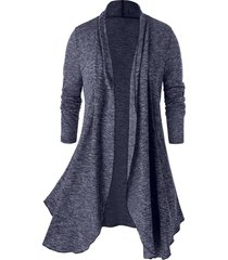 plus size open front space dye tunic cardigan
