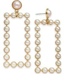 inc gold-tone imitation pearl rectangle drop earrings, created for macy's