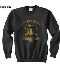 captain old hufflepuff quidditch team unisex crewneck sweatshirt black