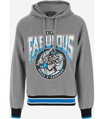 dolce & gabbana designer sweatshirts, melange gray cotton men's hoodie
