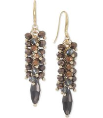 style & co gold-tone brown shaky drop earrings, created for macy's