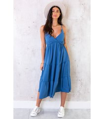 midi jurk monaco jeansblauw