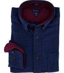 gant overhemd donkerblauw herringbone regular fit