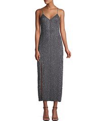 rebecca metallic sequin slip dress